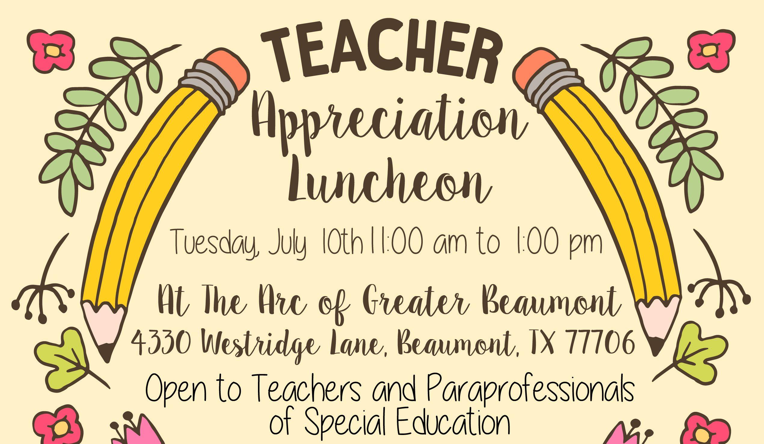 Sped Teacher Appreciation Luncheon