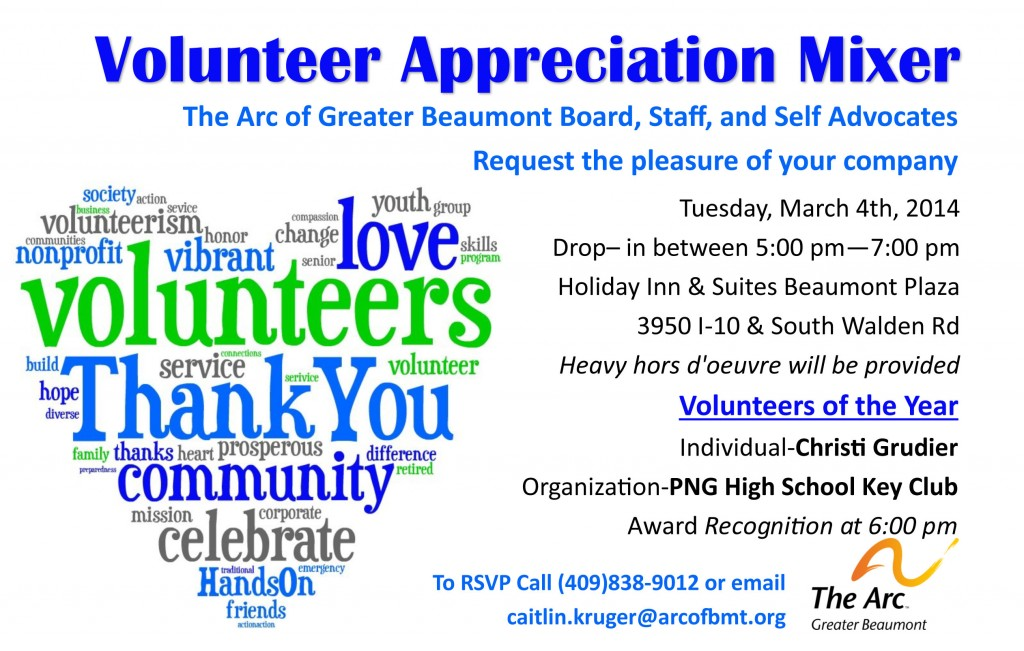 Volunteer Appreciation Mixer The Arc of Greater Beaumont